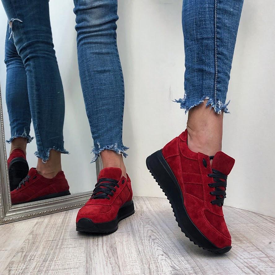 Красные Замшевые Кроссовки на Черной Платформе — в Категории
