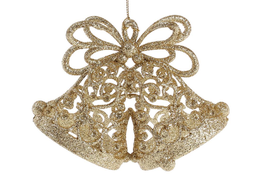 Елочное украшение Колокольчики 15см цвет - золото, пластик, в упаковке 36шт.(788-535)