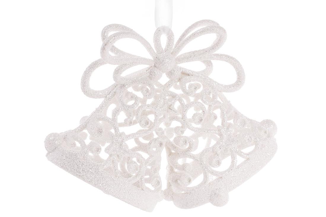 Елочное украшение Колокольчики 15см цвет - белый, пластик, в упаковке 36шт. (788-538)