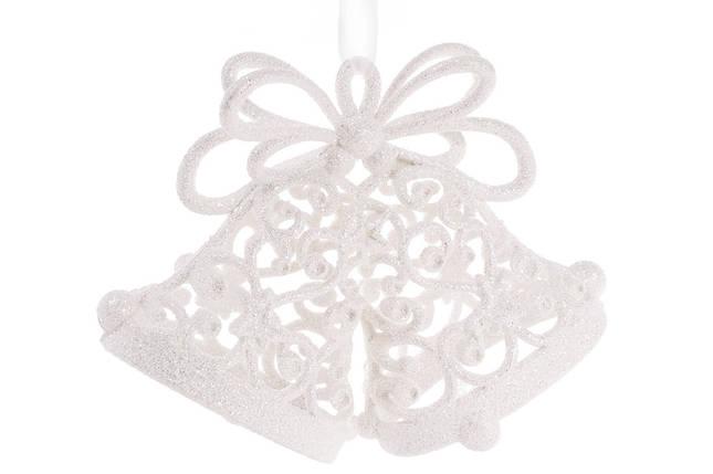 Елочное украшение Колокольчики 15см цвет - белый, пластик, в упаковке 36шт. (788-538), фото 2