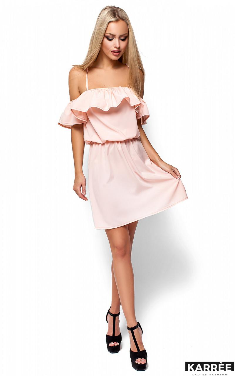 Легкое платье свободного кроя с воланом Karree персик