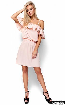 Легкое платье свободного кроя с воланом Karree персик, фото 2