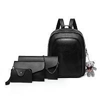 Рюкзак + клатч, кошелёк и визитница набор черный экокожа опт, фото 1
