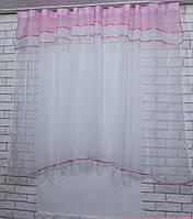 Гардина, арка на кухню, из шифона №36 Цвет розовый с белым., фото 1
