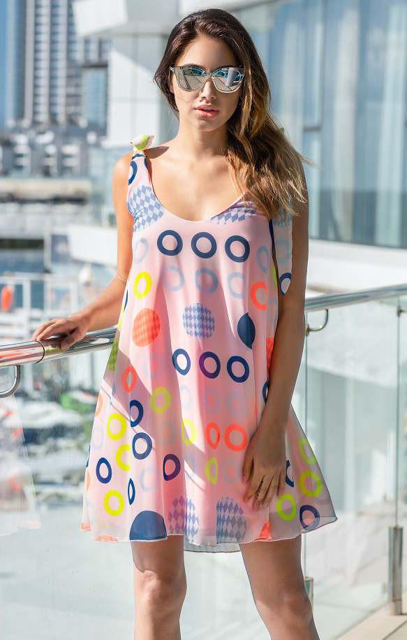 Летнее шифоновое платье с принтом розового цвета. Модель 18790. Размеры 42,46