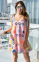Летнее шифоновое платье с принтом розового цвета. Модель 18790. Размеры 42,46, фото 1