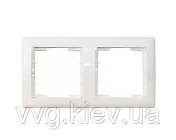 Рамка горизонтальная 2 поста серия BOLERO (белый) РГ02-00-0-ББ IEK