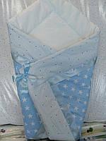 Конверт- плед на выписку новорожденного (Лето, теплая осень) Белая лента