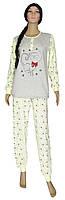 Пижама женская теплая трикотажная 18043 Gentle Cat Grey&Milk на байке