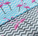 """Ткань хлопковая """"Фламинго на голубом зигзаге"""" (№1419), фото 6"""