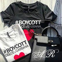 Женская футболка с надписью и сердцем реплика Dolce & Gabbana 42-46 р, фото 2