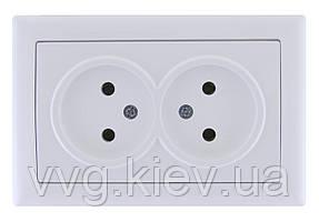 Розетка двойная без з/к без з/ш серия BOLERO (белый) РС02-00-0-ББ IEK