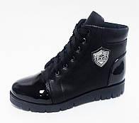 Ботинки детские зимние черные из натуральной кожи и кожи лак с подкладкой из натуральной шерсти