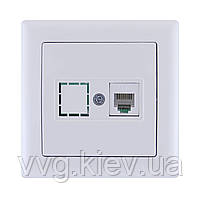 Розетка телефонная RJ12 серия BOLERO (белый) РТ01-00-0-ББ IEK