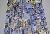 Обои для стены шпалери місто синій паперові город голубой бумажные 0,53*10м, фото 2