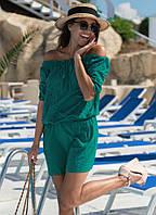 Летнее короткое платье бирюзового цвета. Модель 18815