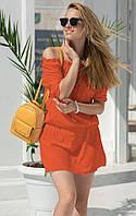 Летнее короткое платье оранжевого цвета. Модель 18834.