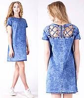Джинсовое платье женское летнее с открытой спинкой