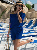Летнее короткое платье синего цвета. Модель 18843