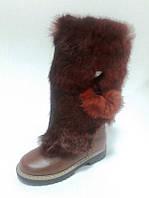 Сапоги зимние кожаные для девочки на термополиэстеровой подошве с молнией с подкладкой из шерсти