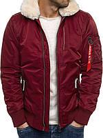 Мужская зимняя   куртка с меховым воротником