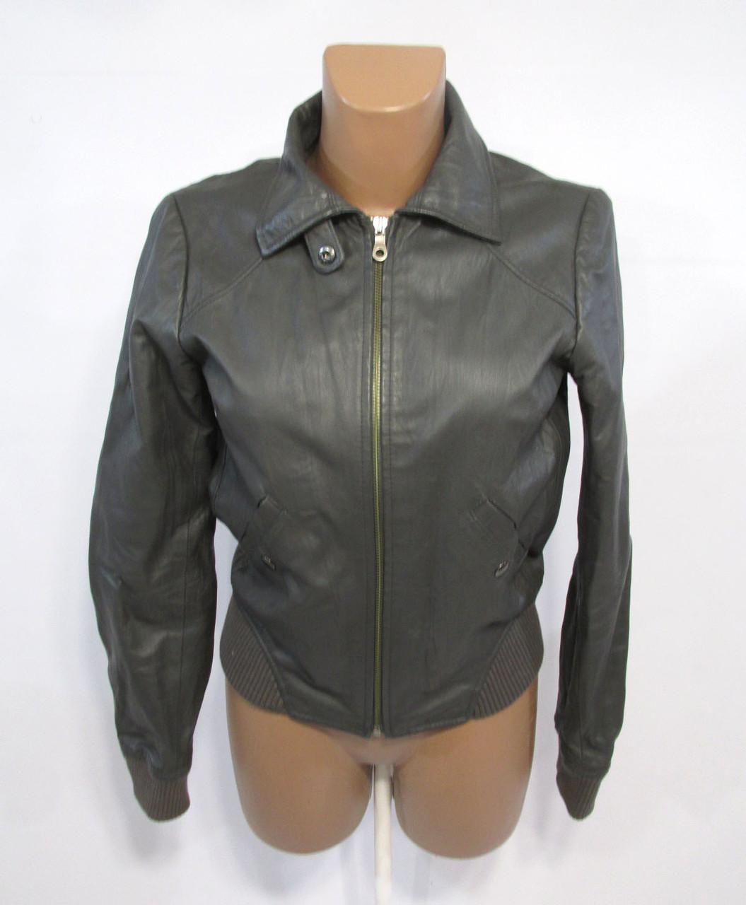 Куртка кожаная H&M, серая, 36 (S), Качественная, Отл сост!
