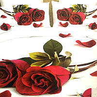 """Постельное белье 3D эффект евро размер 200/230,нав-ки 70/70 """"розы"""""""