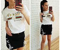 Модная женская футболка с накаткой Gucci 42-46 р