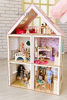 Кукольный домик NestWood 3-5 комнат, мебель. Дом для куклы Барби. Опт