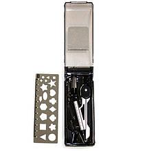 Готовальня Deli 8628 чорн 3 предм (с трафар линейк) с механическ карандашом