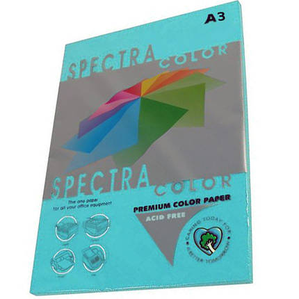 """Бумага насыщенных тонов Spectra_Color 220 синий А3 80гр 500ар """"Spectra_Color"""" неон Turquoise                                                          , фото 2"""