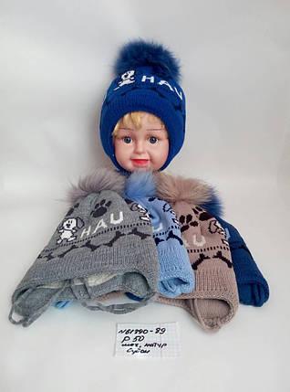 Детская шапка с бубоном для мальчика Hau р.50, фото 2