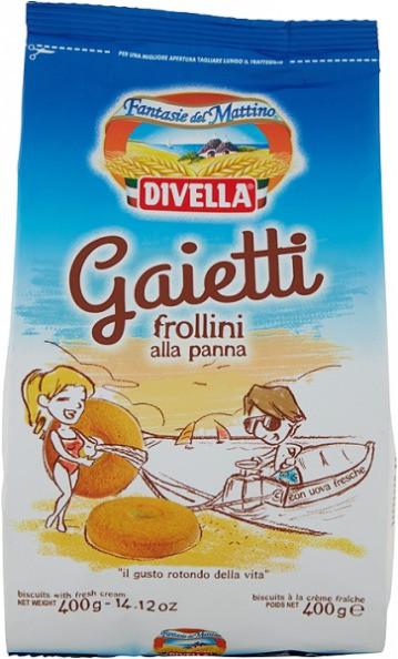 Печенье Divella Frollini Gaietti alla Panna сливочное, 400 гр.