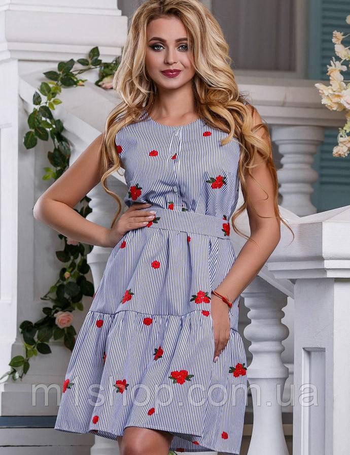 Женское летнее платье из хлопка в тонкую полоску (2632-969 svt)