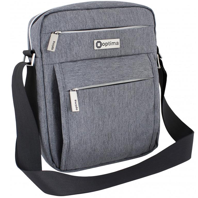 Сумка Optima17 O97404 серый 26х20х5 см, вертикальная, полиэстер, ремень через плечо