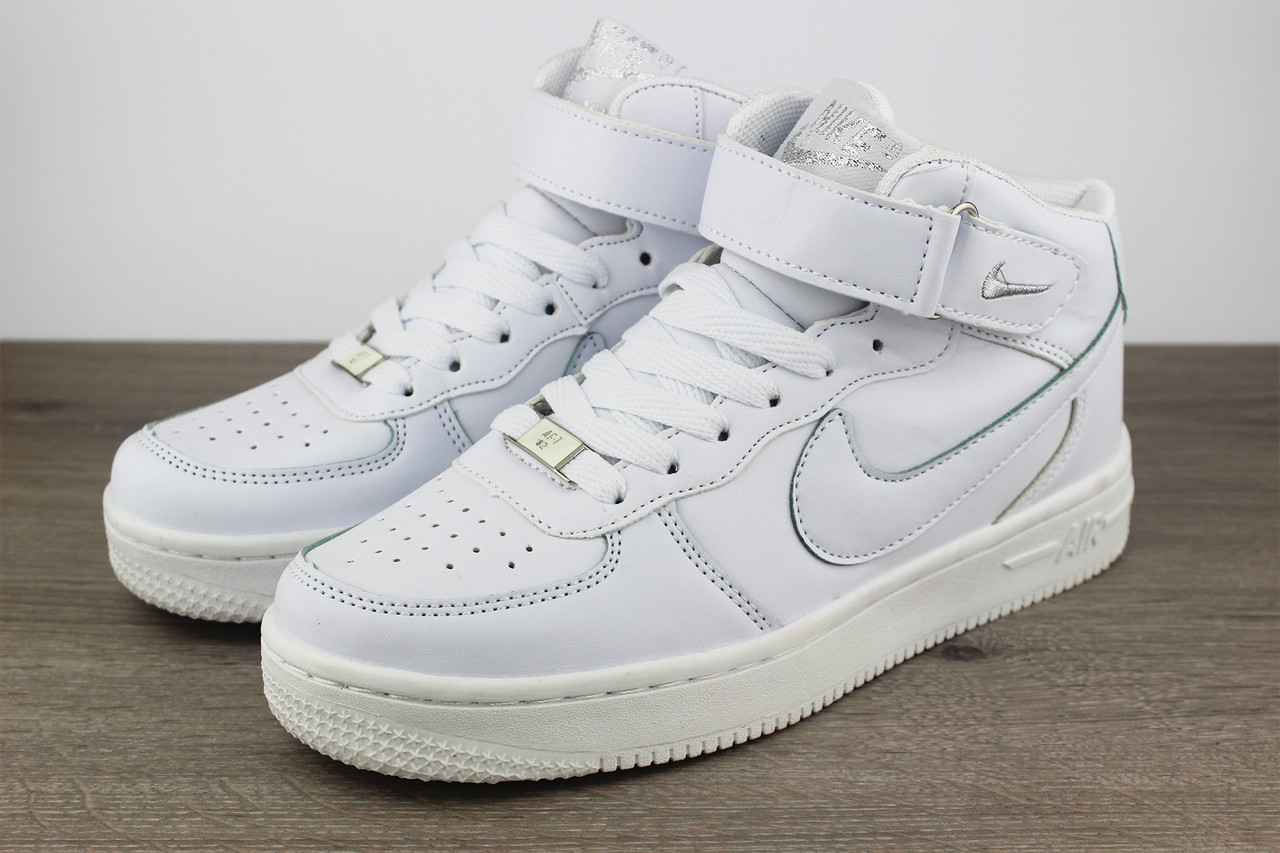 8b5b989a Белые кроссовки Nike Air Force 1 Mid White (реплика) - Foxi Sport - Магазин