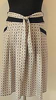 Юбка до колена софт, с карманами, светлый ромб, пояс. Размеры 48 код 2230М