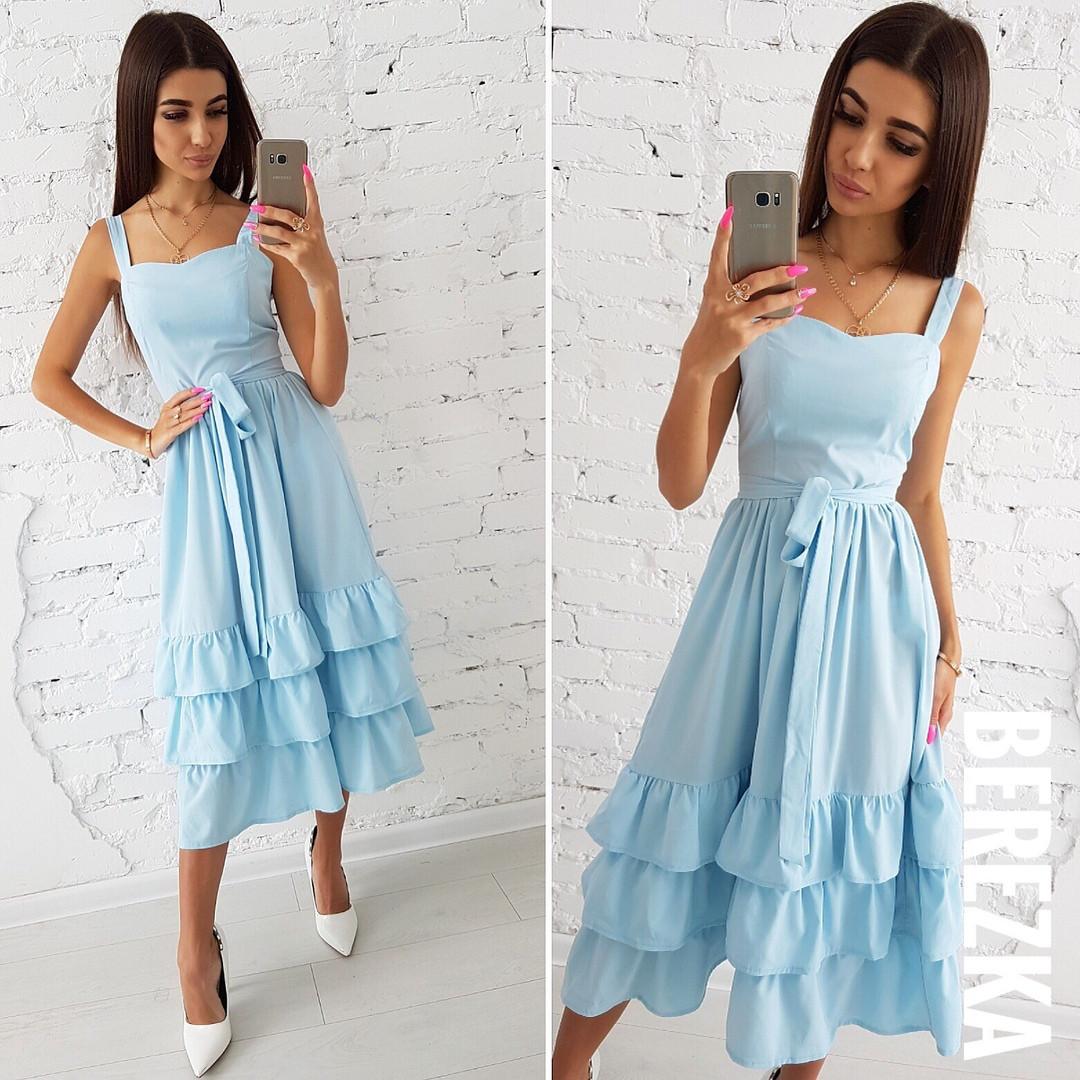 216a3ff7789 Платье летнее легкое с пышной юбкой и оборками миди разные цвета Sms2532
