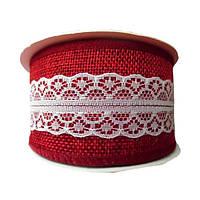Тесьма джутовая Красная с белым кружевом (из мешковины) Рогожка 5 смx9 м/бобина, фото 1