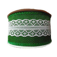Тесьма джутовая Зеленая с белым кружевом (из мешковины) Рогожка 5 смx9 м/бобина, фото 1