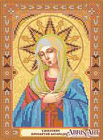 Холст со схемой для вышивки иконы бисером Пресвятой Богородицы Умиление АСК-159