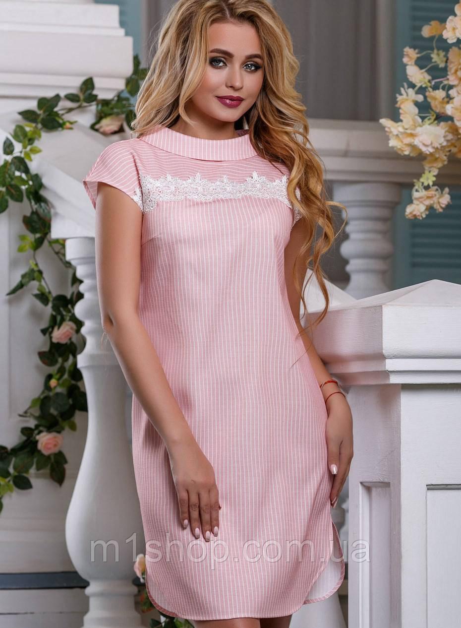 Женское хлопковое платье-рубашка с кружевом на груди (2637-2635-2636 svt)