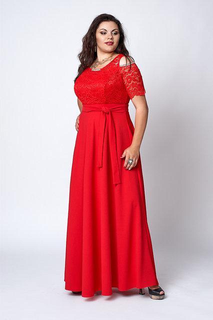 Макси платье мод 568-1, размер 52, красное
