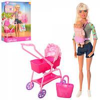 Кукла DEFA 8380-BF  шарнирная, 28см, коляска, пупс7см, аксессуары,2 вида,в кор-ке, 23-33-7,5см
