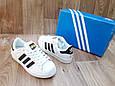 Женские Кроссовки в стиле Adidas Super Star белые с черным кожа с коробкой, фото 4
