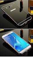 Зеркальный Чехол/Бампер для Samsung Galaxy J7 2016 / J710, Чёрный (Металлический)