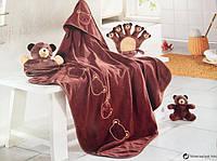 Набор детского постельного плед +рукавица +мягкая игрушка. Мишка