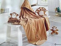 Набор детского постельного плед +рукавица +мягкая игрушка. Обезьянка