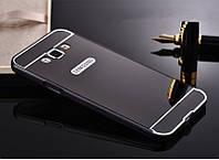 Зеркальный Чехол/Бампер для Samsung Galaxy J7 2015 / J700, Чёрный (Металлический)