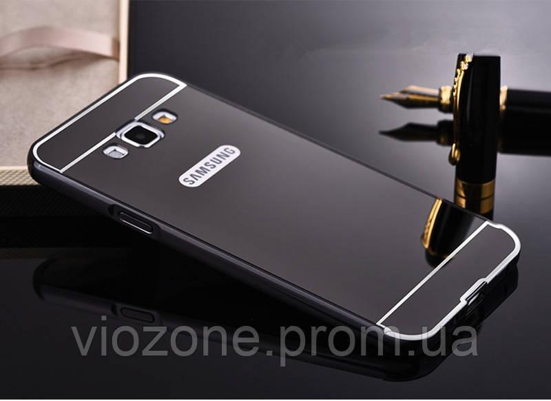 Зеркальный Чехол/Бампер для Samsung Galaxy J7 Neo / J701, Чёрный (Металлический)